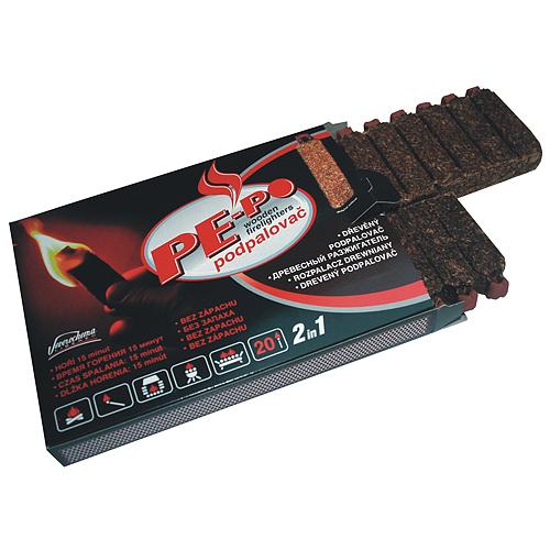 Podpalovac PE-PO®, drevný, 20 podpalov, FSC 100%, 2v1