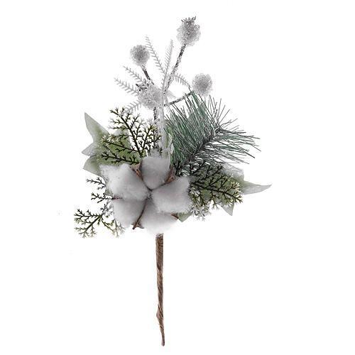 Vetvička s bavlnou, biela 25cm, 6 ks