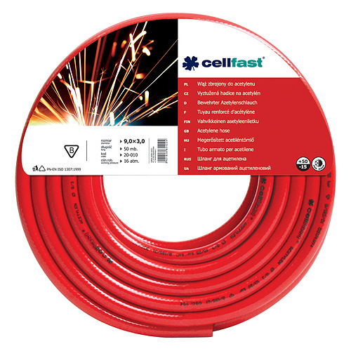Hadica Cellfast 20-010, Acetylene 9,0x3,0 mm, L-50 m