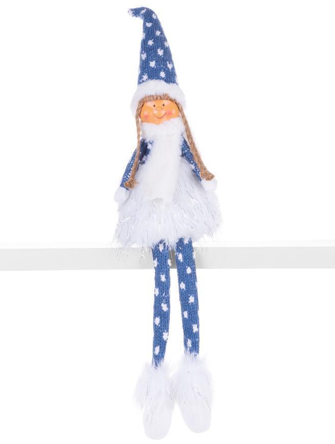 Postavička MagicHome Vianoce, Dievčatko s hustou sukňou, látkové, modro-sivé, 14x11x62 cm