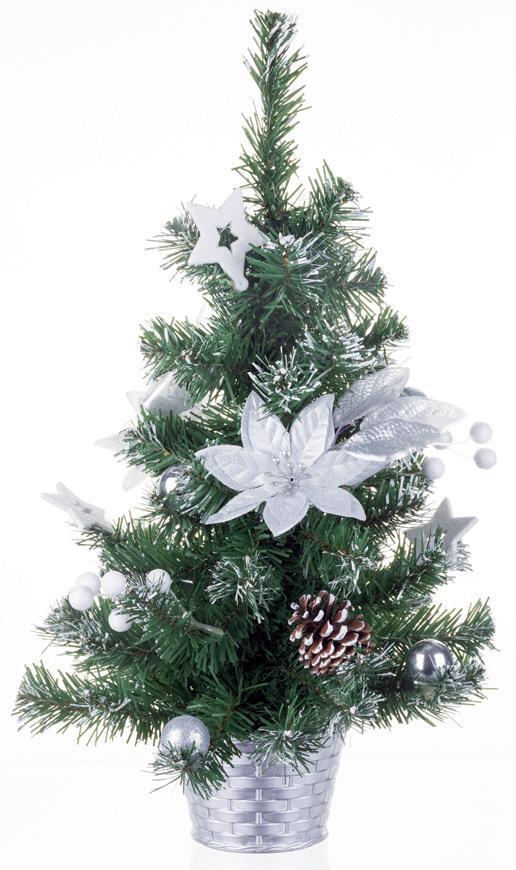 Stromček MagicHome Vianoce, ozdobený, strieborný, kvet, 30 cm