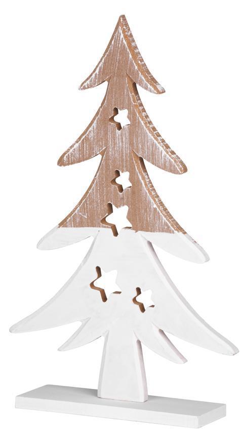 Dekorácia MagicHome Vianoce Woodeco, Stromček hnedo/biely, bal. 2 ks, 19x29 cm