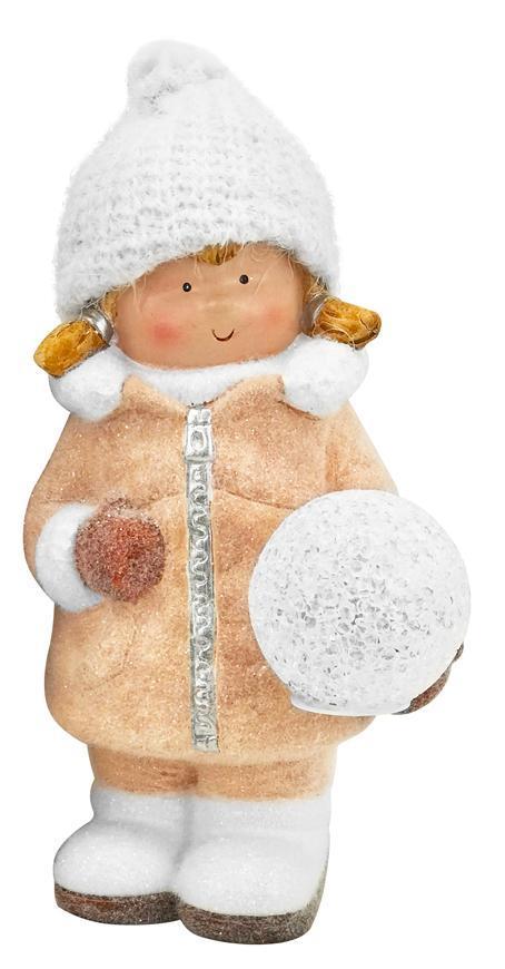 Postavička MagicHome Vianoce, Dievčatko so snehovou guľou, 1 LED, keramika, 14x13x25 cm