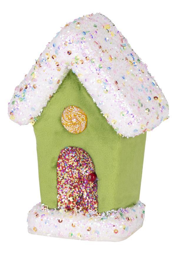 Dekorácia MagicHome Candy Line, domček, zelený, 16 cm, závesný