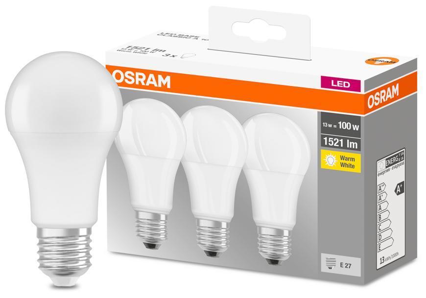 Ziarovka OSRAM® LED FR 100 (ean 9412) non-dim 13W/827 E27 2700K MULTIPACK bal. 3 ks, Star Classic A