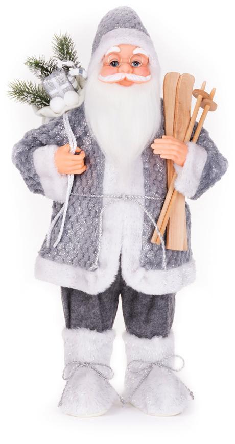 Dekorácia MagicHome Vianoce, Santa stojaci, s lyžami, 46 cm