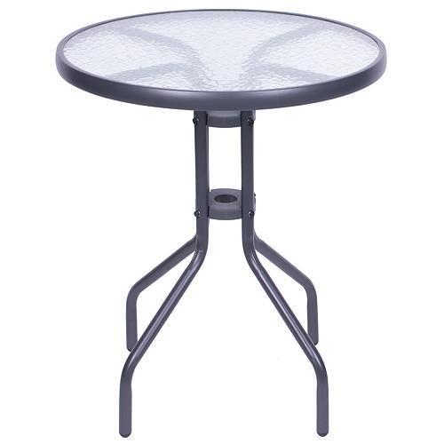Stôl LEQ BECCA, 72x60 cm, sklo, k setu BRENDA, šedý