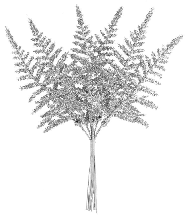 Vetvička MagicHome Vianoce, papraď, strieborná, 19 cm, bal. 6 ks