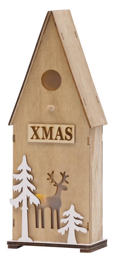 Dekorácia MagicHome Vianoce Woodeco, Vtáčia búdka, 3 LED, 12x7x32 cm