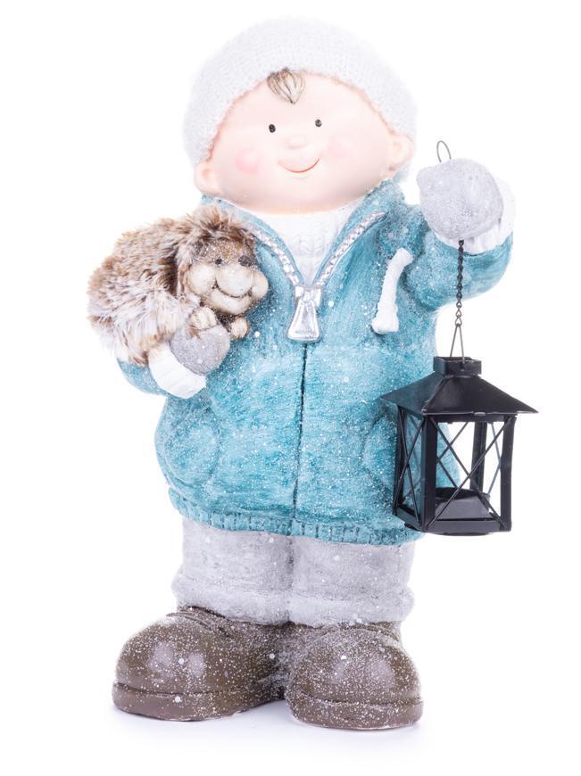 Postavička MagicHome Vianoce, Chlapček s lampášom a ježkom, keramika, 23x20x39,5 cm