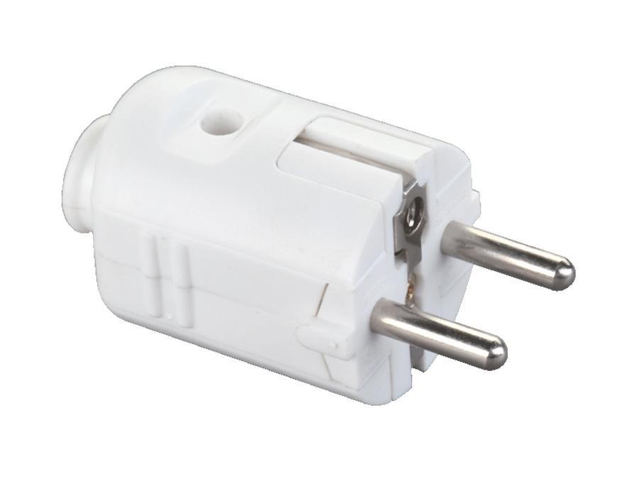 Vidlica Strend Pro, na kábel, 250 V, IP20, 16A, biela