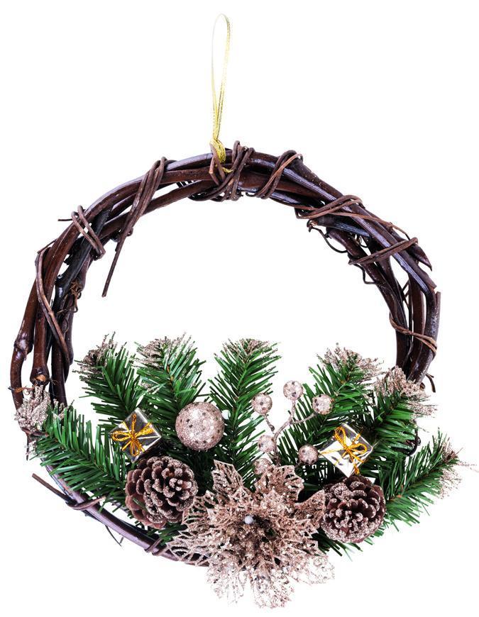 Veniec MagicHome Vianoce, prírodný, závesný, 30 cm