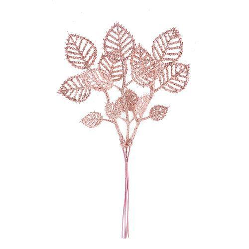 Vetvička lístky, ružové zlato 22cm, 6 ks