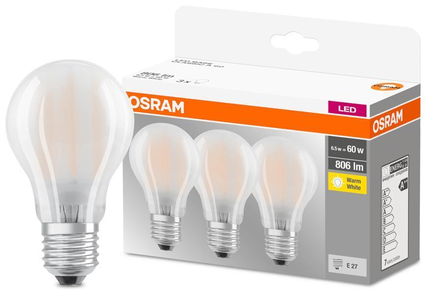 Ziarovka OSRAM® LED FR 060 (ean9351) non-dim 7W/827 E27 2700K MULTIPACK bal. 3 ks, Star CLASSIC A