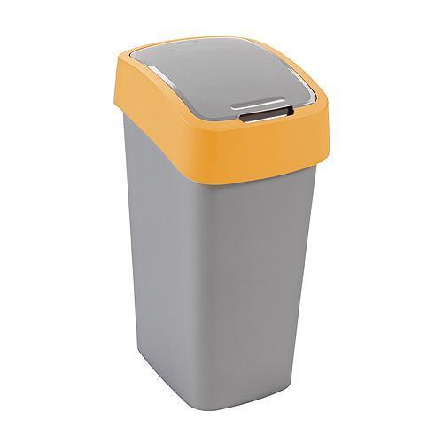 Kôš Curver® FLIP BIN 25L, šedostříbrná/žltá, na odpad