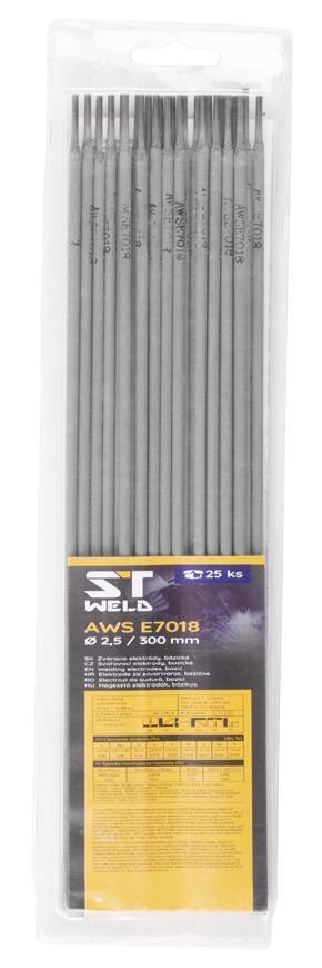 Elektródy ST Weld, AWS E7018, 2,5x300 mm, 25 ks, Basic