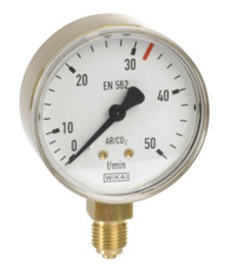 "Manometer Messer 0.640.142, 50 l/min, Ar/CO2, pr. 63mm, G1/4"""