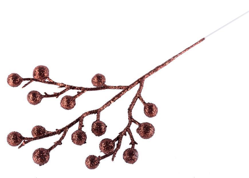 Vetvička MagicHome Vianoce, Gliberries.Choco, hnedá, 25 cm, bal. 12 ks