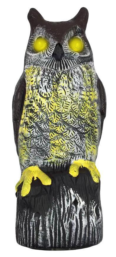 Plašič vtákov, Sova, solárna, svietiace oči, 41cm, zvuk