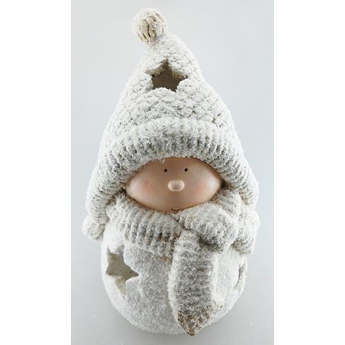 Postavička MagicHome Vianoce, Chlapček guľa, keramika, 30,5 cm
