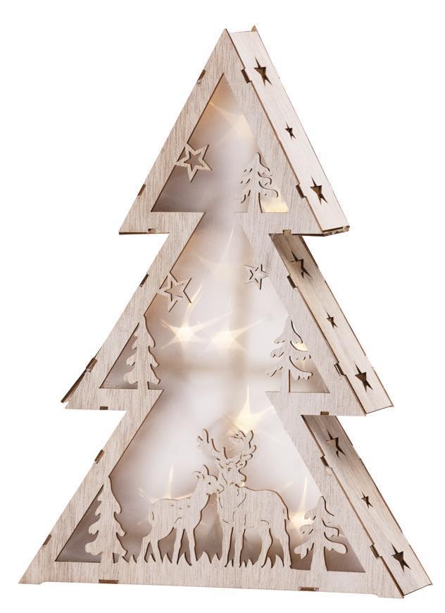 Dekorácia MagicHome Vianoce Woodeco, Stromček, 10 LED, 29x6x40 cm