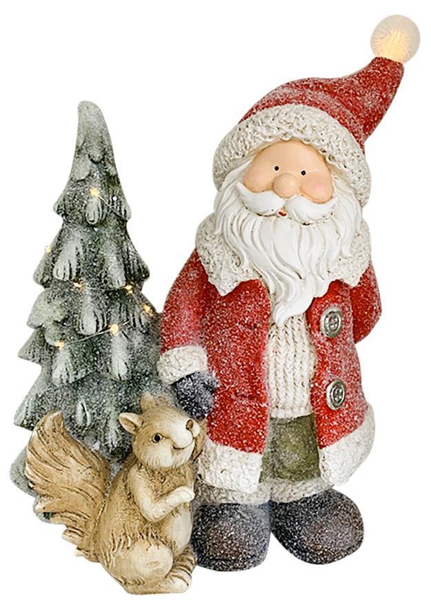Dekorácia MagicHome Vianoce, Santa s veveričkou a stromčekom, 1 LED, 2xAAA, keramika, 35,50x20x46 cm