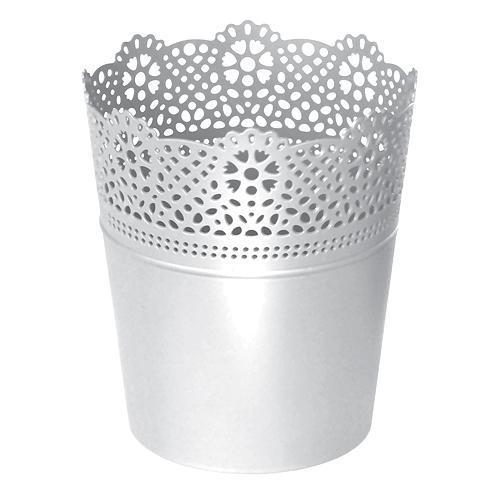 Kvetináč LACE 140 mm, biely