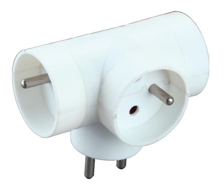 Zásuvka rozbočovacia Strend Pro, biela, 230 V, IP20, max. 3680 W, 3x16A