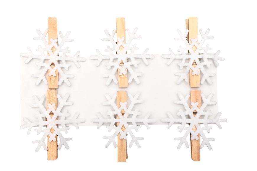 Dekorácia MagicHome Vianoce Woodeco, Snehová vločka, 4 cm