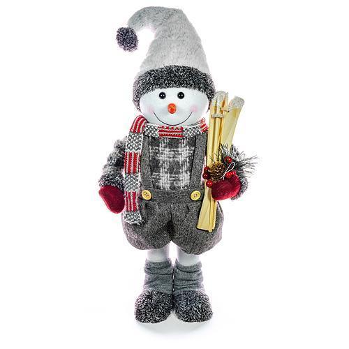 Dekorácia MagicHome Vianoce, Snehuliak chlapec s lyžami, 60 cm