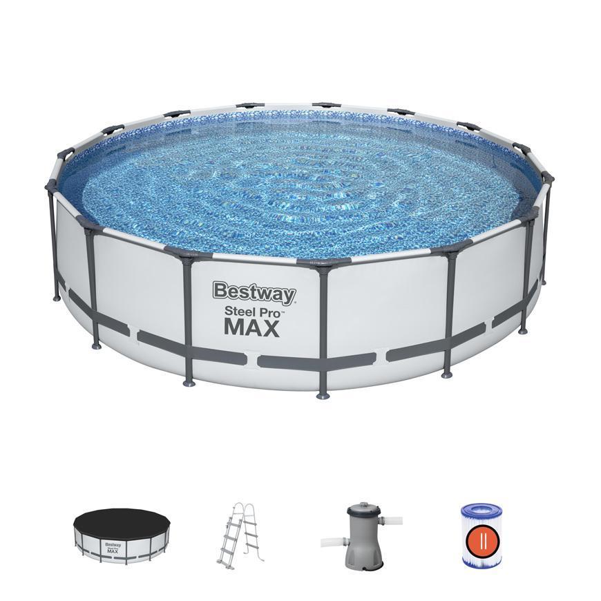 Bazen Bestway® Steel Pro MAX, 56488, 457x107 cm, filter, rebrík, podložka, plachta
