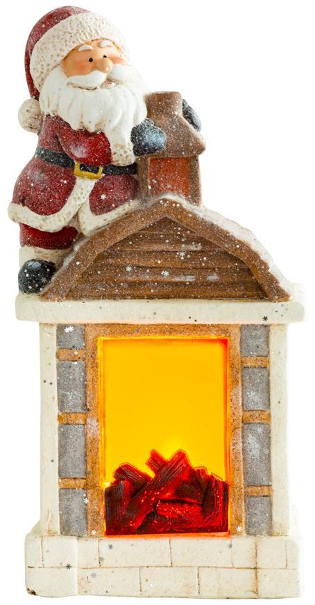 Dekorácia MagicHome Vianoce, Santa s kozubom, 9 LED, 3xAA, keramika, 27,50x19x51 cm