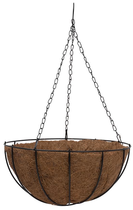 Kvetináč LC-CocoH-22 • oceľ/kokos, závesný, s vešiakom, 250x250x120 mm