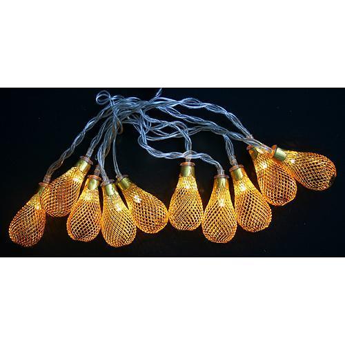 Reťaz MagicHome Vianoce Lantern Ball, zlatá, 2xAA, interiér