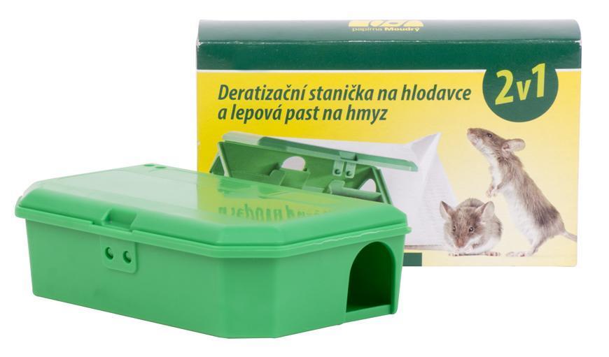 Deratizačná stanička 2v1, stanica pre otravu na hlodavce, lepová pasť na hmyz