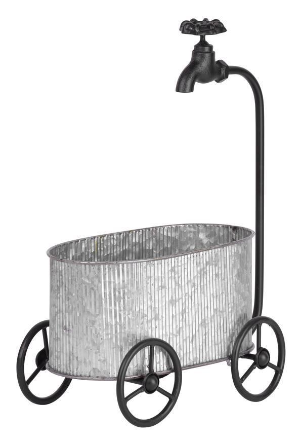 Dekoracia Mecco 5021, Vanička na kolesách, 44 cm, plech
