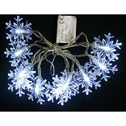 Retaz MagicHome SnowFlake, 90 cm, 10xLED biela, 2xAA, interér