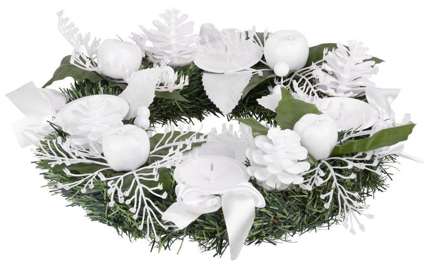 Veniec MagicHome Vianoce, prírodný, adventný, biely, 25 cm
