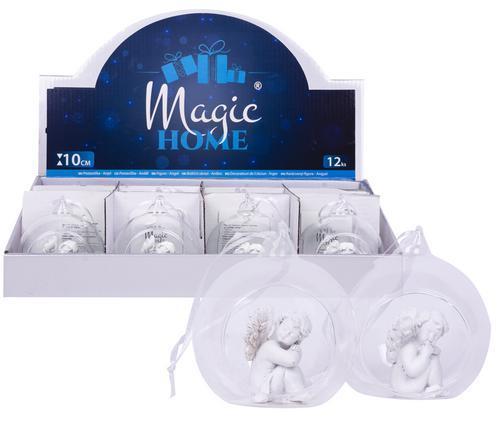 Dekorácia MagicHome, závesný anjel, polyresin, 10 cm, bal. sellbox 12 ks (mix. 2 vzorov)