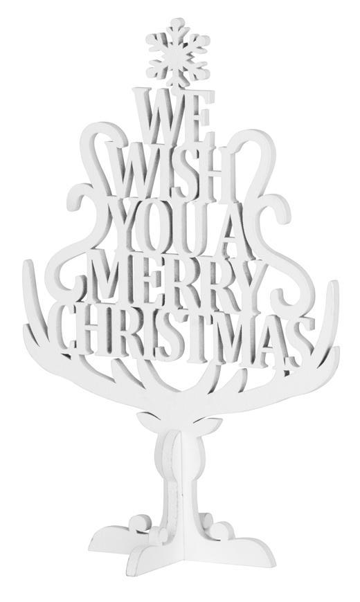 Dekorácia MagicHome Vianoce Woodeco, Stromček s textom, bal. 4 ks, 15x22 cm