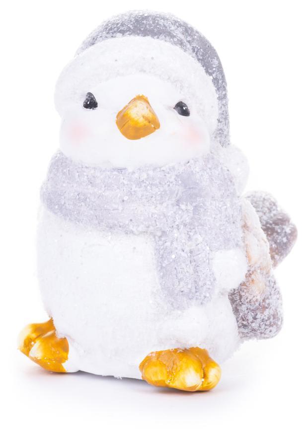 Dekorácia MagicHome Vianoce, Vtáčik samička, sivý šál, terakota, 13,80x9x12,80 cm