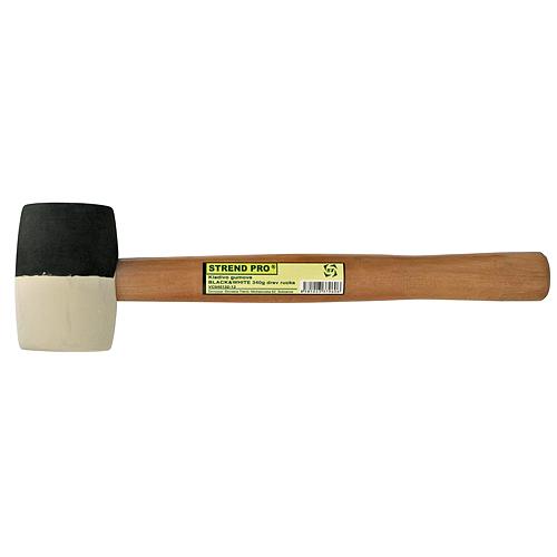 Kladivo Strend Pro HM232 450 g, gumené, BlackWhiteHead, drevená rúčka