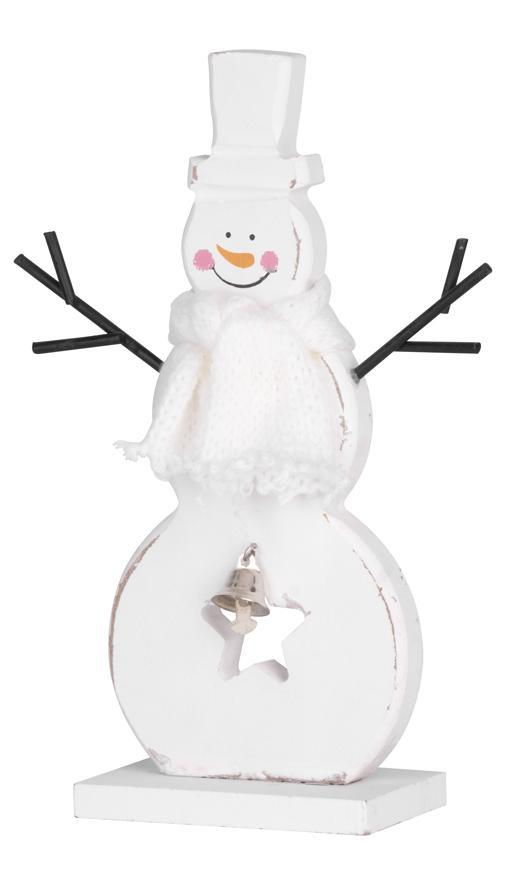 Dekorácia MagicHome Vianoce Woodeco, Snehuliak biely, bal. 2 ks, 10x20 cm