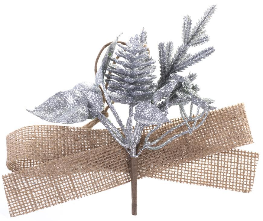 Vetvička MagicHome Vianoce, so šiškou a jutovou stuhou, zlatá, 17 cm, bal. 6 ks