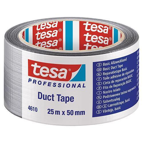 Páska tesa® BASIC Duct Tape, strieborná, textilná, 50 mm, L-25 m
