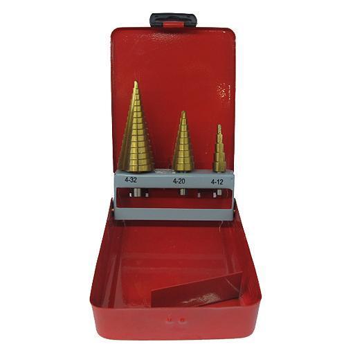 Sada stupňovitých vrtákov Strend Pro SS421, 4-12, 4-20, 4-32 mm, TiN, HSS 4241 rovný, do kovu