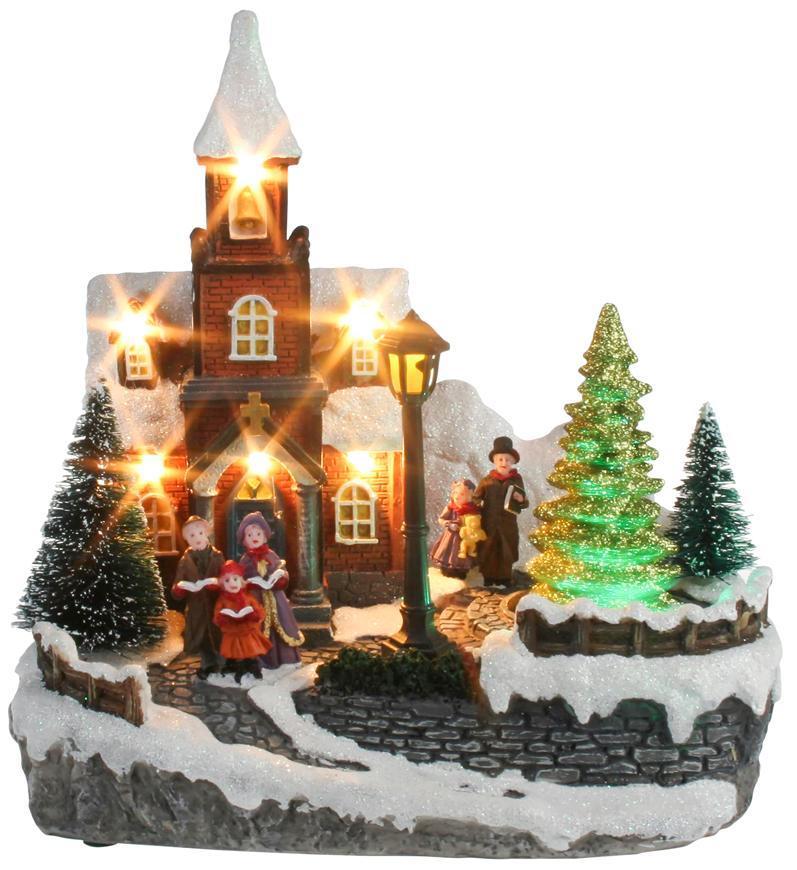 Dekorácia MagicHome Vianoce, Kostol, 8 LED meniaca farby, s melódiami, 3xAA, interiér, 21x14,50x20,8