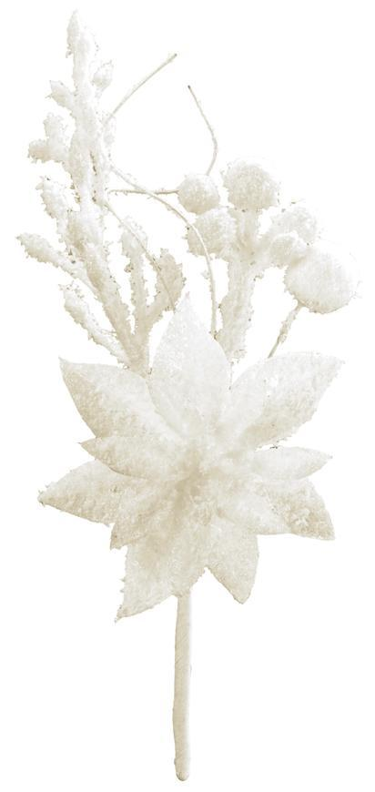 Vetvička MagicHome Vianoce, s kvetom poinsettia, biela, 19 cm, bal. 6 ks