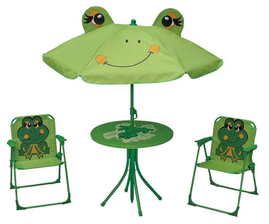 Set LEQ MELISENDA Rana, žaba, slnečník 105 cm, stôl 50 cm, 2 stoličky