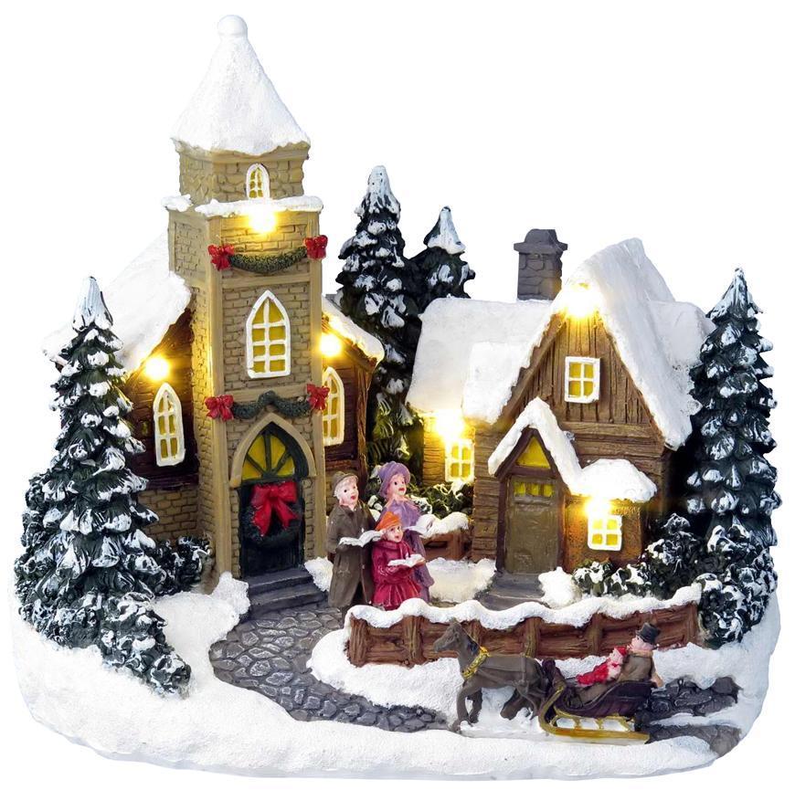 Dekorácia MagicHome Vianoce, Vianočný domček, 6 LED teplá biela, s melódiami, polyresin, 3xAA, inter